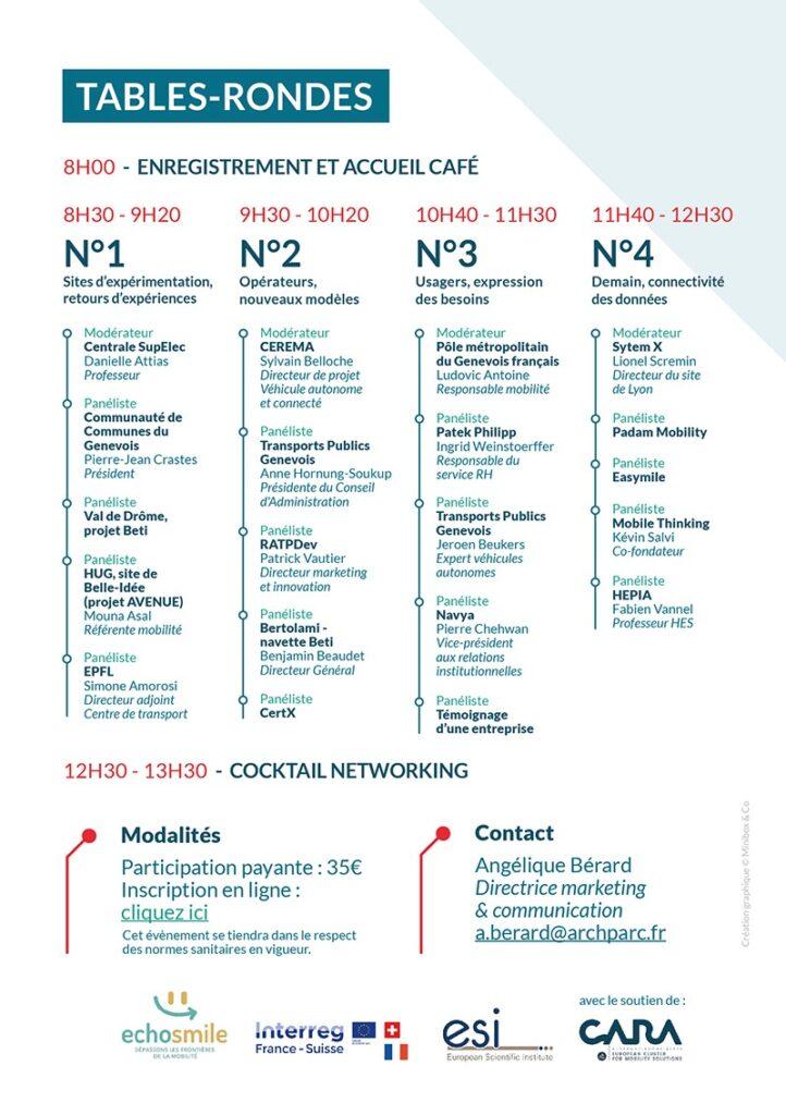 Programme de l'événement 100% mobilité Grand Genève